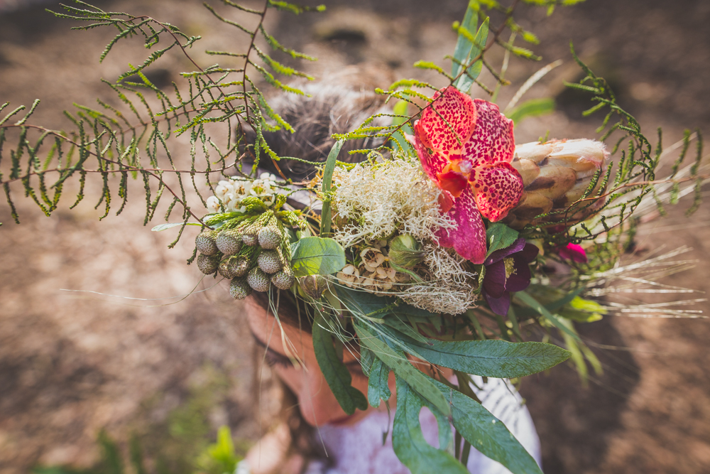 couronne de fleurs mariée funky